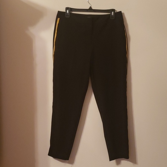 Worthington Pants - Black dress capris with yellow stripe